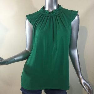Adrianna Papell Women's Medium Green Ruffle Blouse